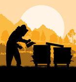 Apicultor trabajando en segundo plano vector apiario — Vector de stock