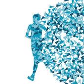 Fondo abstracto vector runner, mujer hecha de fragmentos — Vector de stock