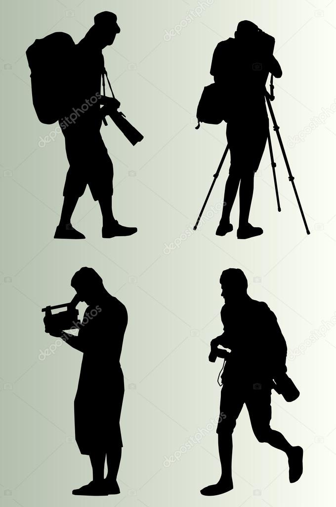 摄影师剪影矢量背景设置