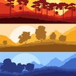 Stock Vector: Forest trees silhouettes landscape illustration