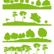 Forest trees silhouettes landscape illustration collection ecolo — Stock Vector