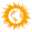 Global warming concept with burning globe like sun vector backgr — Stock Vector