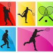 Tennis players silhouettes vector background set — Stock Vector #28269375