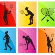 Tennis players silhouettes vector background set — 图库矢量图片