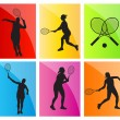 Tennis players silhouettes vector background set — Stock Vector