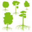 Tree with roots set background ecology vector — Stock Vector