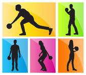 ボーリング選手シルエット ベクトルの背景の設定 — ストックベクタ