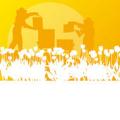 Biodlare som arbetar i bigården vektor bakgrund landskap — Stockvektor
