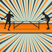 Table tennis player silhouette ping pong vector burst background — Stock Vector