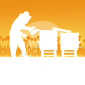 Apicoltore lavorando in apiario vettore sfondo paesaggio — Vettoriale Stock