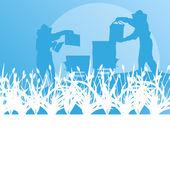 养蜂人在蜂房矢量背景景观中工作 — 图库矢量图片