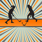 Floorball player vector silhouette background abstract — Stock Vector