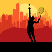 Tennis player silhouette and city in sunset vector — Stock Vector