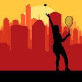 Tenis odtwarzacz sylwetka i miasto wektor zachód — Wektor stockowy