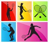 Fundo conjunto de vetores silhuetas de jogadores de tênis — Vetor de Stock