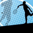 Tennis players detailed silhouettes vector background concept — Stock Vector #29850007