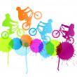 Cycling silhouette vector background concept splashes — Stock Vector