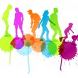 Rollerskating silhouettes vector background concept with ink spl — Stock Vector