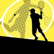 Tennis players detailed silhouettes vector background concept il — Stock Vector