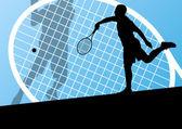 Silhuetas detalhadas de tênis jogadores vector base conceito — Vetorial Stock