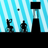 Man in wheelchair playing basketball, disabled person vector bac — Stock Vector