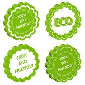 Eco amical vecteur timbre ou étiquette écologie fond — Vecteur