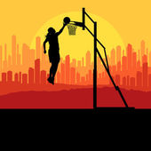 Basketball player in front of city sunset vector background conc — Stock Vector