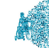 Uomo su sedia a rotelle, persona disabile vettoriale astratto co — Vettoriale Stock
