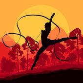 Gimnastyka nastolatek z taśmy wektor tle krajobraz — Wektor stockowy