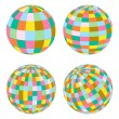Disco balls set retro vector background — Stock Vector
