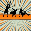 Stock Vector: Boy dance silhouette vector background concept