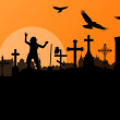 Halloween spooky graveyard, cemetery vintage background with gra — Stock Vector