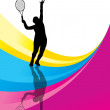 Tennis players detailed silhouettes vector background concept — Stock Vector
