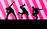 Conceito de plano de fundo do rapaz dança silhueta vector — Vetorial Stock