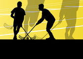 Floor ball players active children sport silhouettes background — Vetor de Stock