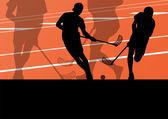 Vloer bal spelers actieve kinderen sport silhouetten achtergrond — Stockvector