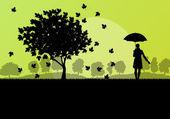 Hojas de otoño de árbol de maple y chica con paraguas fondo vecto — Vector de stock