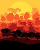 Mystical forest vector background landscape concept — Stock Vector