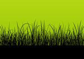 Fresh grass landscape detailed silhouette illustration backgroun — Stock Vector