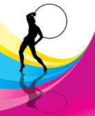 Rhythmic gymnastic background woman with hoop ring — Stock Vector