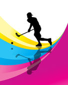 Floorball player vector silhouette abstract background — Stock Vector