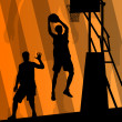 Basketball players active sport silhouettes vector background — ベクター素材ストック