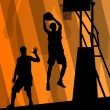 Basketball players active sport silhouettes vector background — 图库矢量图片