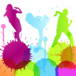 Dancing silhouettes vector background concept — Stock Vector