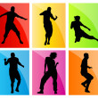 Dancing silhouettes set vector background — Stock Vector