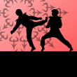 Постер, плакат: Active tae kwon do martial arts fighters combat fighting and kic