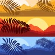 Palms and sun, tropical sunset vector background — Stock Vector