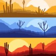 Desert cactus plants wild nature landscape illustration backgrou — Imagen vectorial