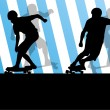Active skateboarders detailed sport concept silhouette illustrat — Stok Vektör