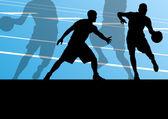 Basketbol oyuncu aktif spor siluetleri vektör arka plan — Stok Vektör